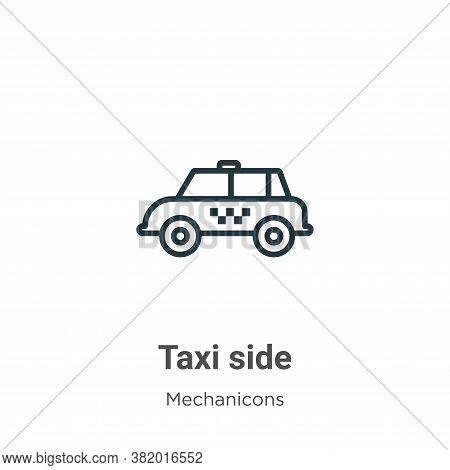 Taxi side icon isolated on white background from mechanicons collection. Taxi side icon trendy and m