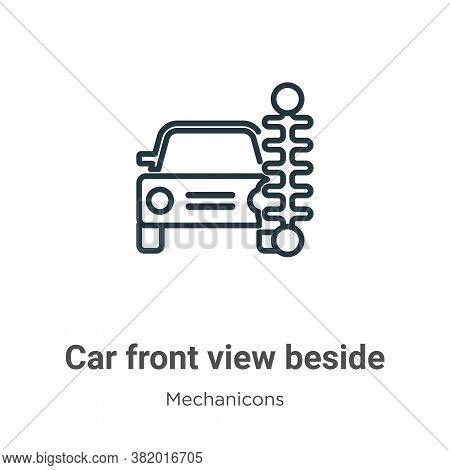 Car front view beside a traffic meter icon isolated on white background from mechanicons collection.