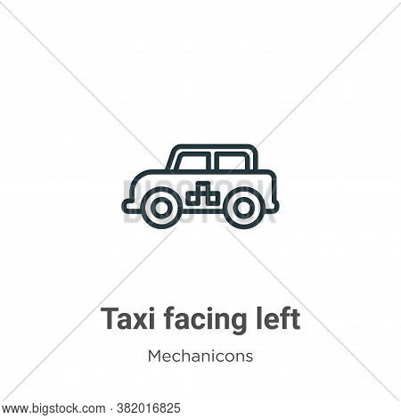 Taxi facing left icon isolated on white background from mechanicons collection. Taxi facing left ico