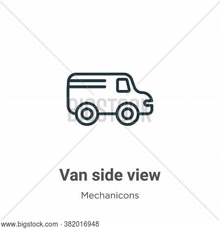 Van side view icon isolated on white background from mechanicons collection. Van side view icon tren
