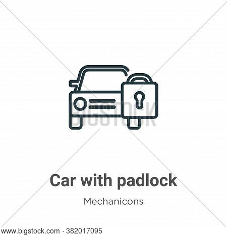 Car with padlock icon isolated on white background from mechanicons collection. Car with padlock ico