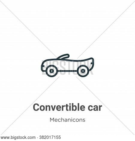 Convertible car icon isolated on white background from mechanicons collection. Convertible car icon