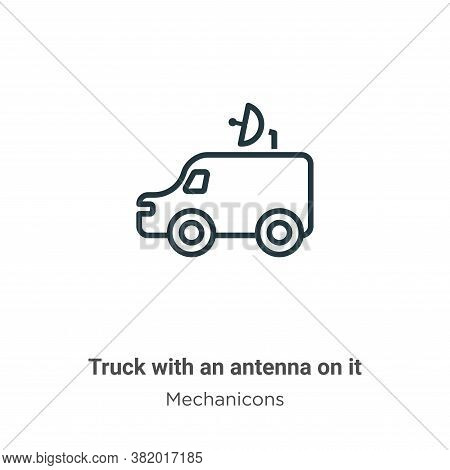 Truck with an antenna on it icon isolated on white background from mechanicons collection. Truck wit