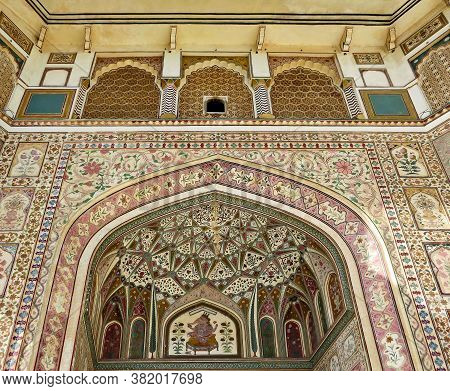 Ganesh Pol - The Central Gate Of The Palace Of Ancient Amber Fort, Jaipur, India.