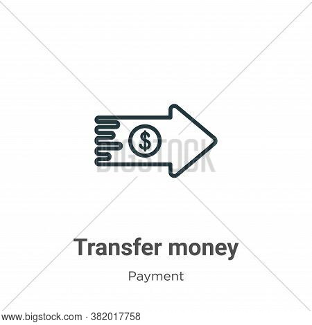 Transfer money icon isolated on white background from payment methods collection. Transfer money ico