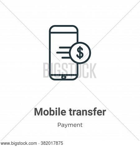 Mobile transfer icon isolated on white background from payment methods collection. Mobile transfer i