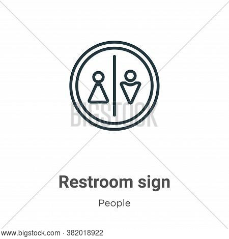 Restroom sign icon isolated on white background from people collection. Restroom sign icon trendy an