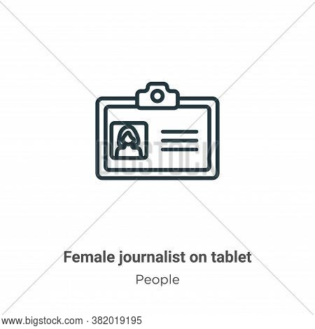 Female Journalist On Tablet Icon From People Collection Isolated On White Background.
