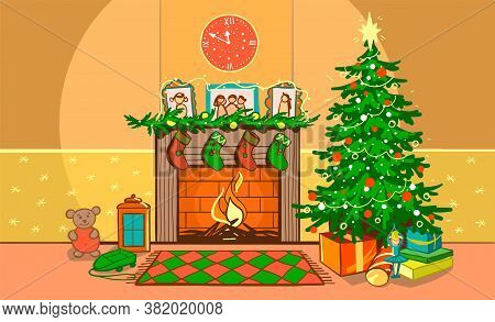 Christmas Living Room. Night Interior On New Year S Eve With A Fireplace, Clock, Garland With Lights