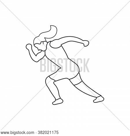 Line Illustration Of Woman Running Character. Good For Body Fitness And Endurance. Design Template V