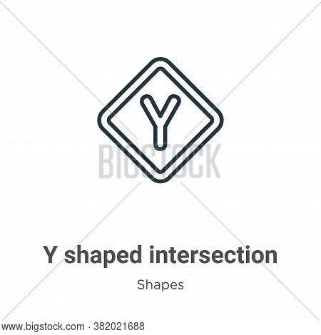 Y shaped intersection icon isolated on white background from shapes collection. Y shaped intersectio