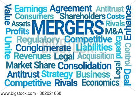 Mergers Word Cloud on White Background