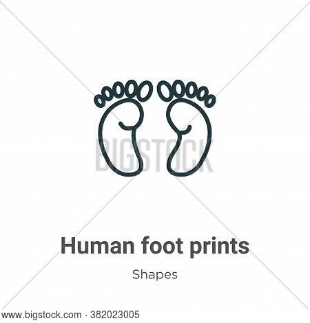Human foot prints icon isolated on white background from shapes collection. Human foot prints icon t