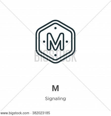 M icon isolated on white background from signaling collection. M icon trendy and modern M symbol for