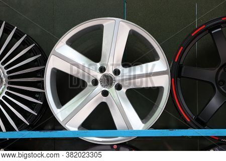 Alloy Wheel Of Car On The Shelf. Alloy Wheels Are Wheels That Are Made From An Alloy Of Aluminium Or