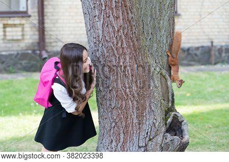 Natural Learning. Happy Kid Look At Squirrel Climbing Tree Trunk. Environmental Education. Natural S