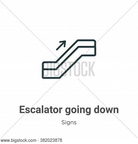 Escalator going down icon isolated on white background from signs collection. Escalator going down i