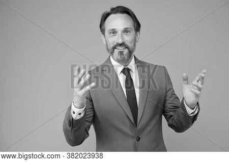 Formal Teaching. Bearded Man Wear Formal Suit. Coach Or Teacher In Formal Style. Formal Work Fashion