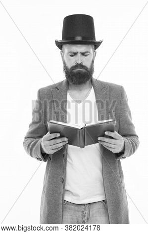I Have To Study. Gentleman In Top Hat Read Study Book. Bearded Man Isolated On White. Back To Study.