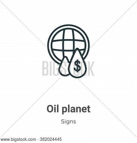 Oil planet icon isolated on white background from signs collection. Oil planet icon trendy and moder