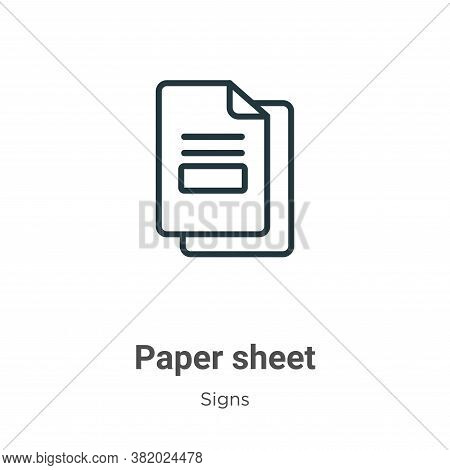 Paper sheet icon isolated on white background from signs collection. Paper sheet icon trendy and mod