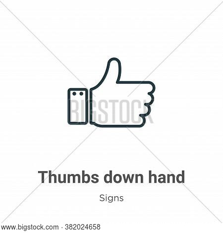 Thumbs down hand icon isolated on white background from signs collection. Thumbs down hand icon tren