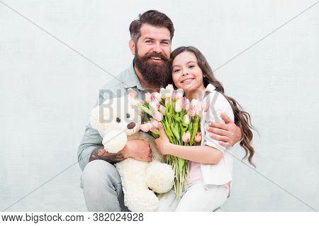 We Are Celebrating. Happy Family Celebrate Holiday Together. Small Kid And Bearded Man Enjoy Celebra