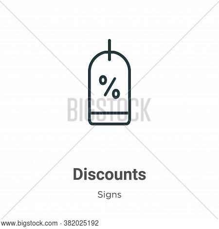 Discounts icon isolated on white background from signs collection. Discounts icon trendy and modern