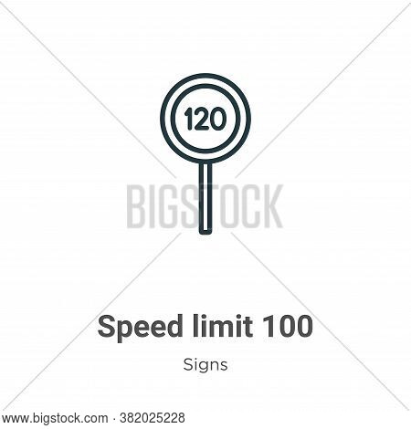 Speed limit 100 icon isolated on white background from signs collection. Speed limit 100 icon trendy