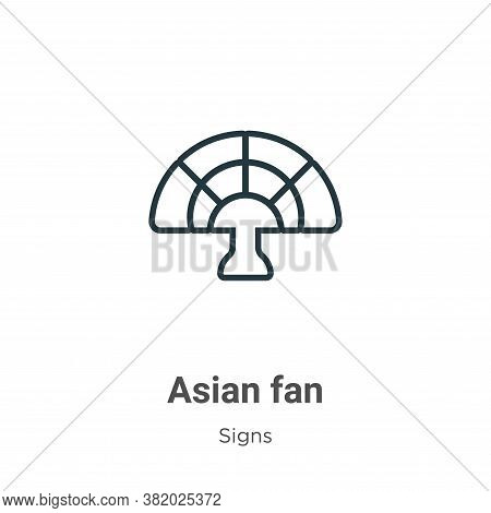 Asian fan icon isolated on white background from signs collection. Asian fan icon trendy and modern