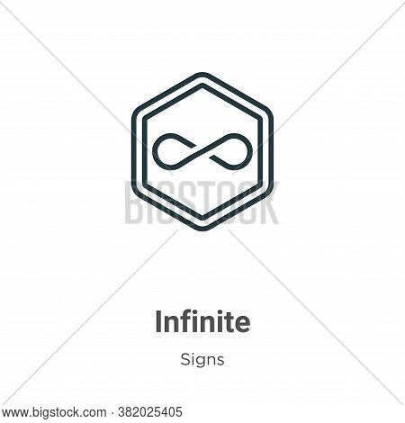 Infinite symbol icon isolated on white background from signs collection. Infinite symbol icon trendy