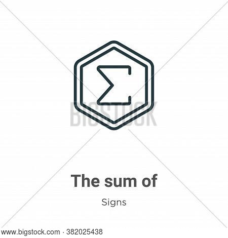 The sum of symbol icon isolated on white background from signs collection. The sum of symbol icon tr