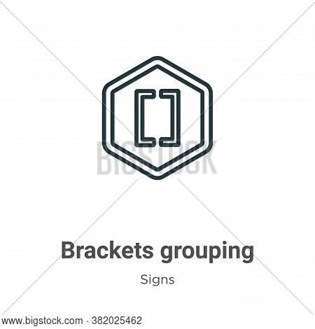Brackets grouping symbol icon isolated on white background from signs collection. Brackets grouping
