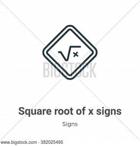 Square root of x signs icon isolated on white background from signs collection. Square root of x sig