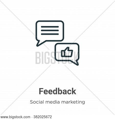 Feedback icon isolated on white background from social media marketing collection. Feedback icon tre