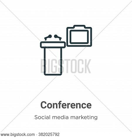 Conference icon isolated on white background from social media marketing collection. Conference icon