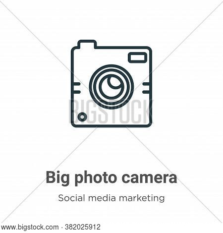 Big photo camera icon isolated on white background from social media collection. Big photo camera ic