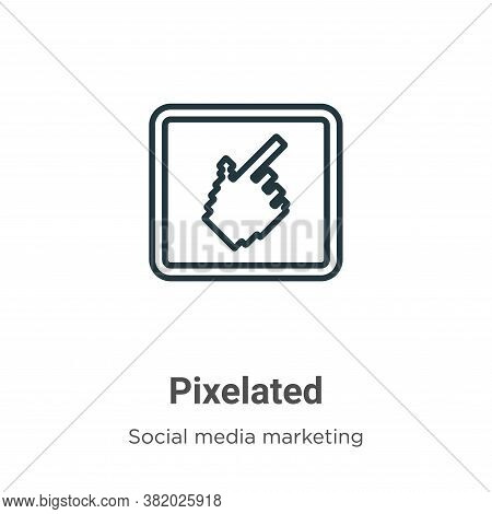 Pixelated icon isolated on white background from social media collection. Pixelated icon trendy and