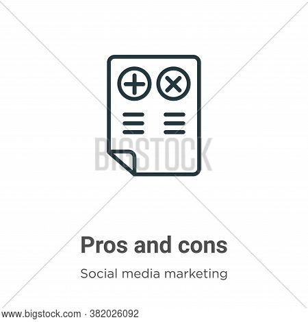 Pros and cons icon isolated on white background from social collection. Pros and cons icon trendy an