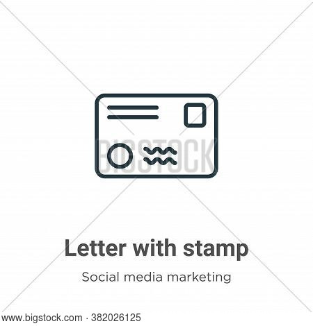 Letter with stamp icon isolated on white background from social collection. Letter with stamp icon t
