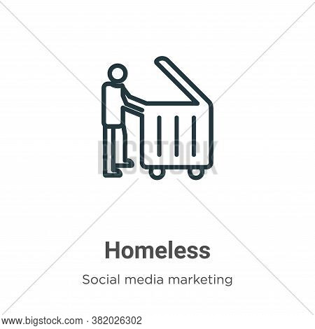 Homeless icon isolated on white background from social collection. Homeless icon trendy and modern H