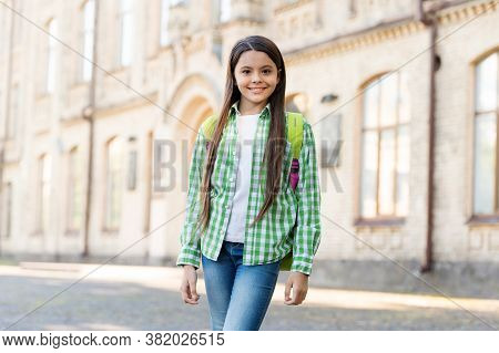 Feel Free And Safe. Happy Child Smile Summer Outdoors. Beauty Look Of Child Girl. Small Child Wear C