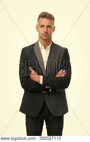 Personal Growth And Self Development. Successful Businessman. Well Groomed Business Man White Backgr