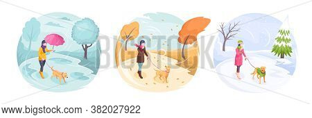 Pet Walking In Bad Weather, Woman With Dog In Park, Vector Isometric Flat Illustration. Girl Walking
