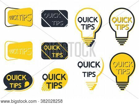 Quick Tip Icon Set. Yellow Lightbulb Icons With Quick Tips Text Inside. Lamp Of Advice Idea Quickly