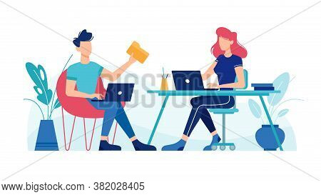 Man And Woman Working With Laptop Computers At Office Workplace Tables, Vector Flat Design. Office W