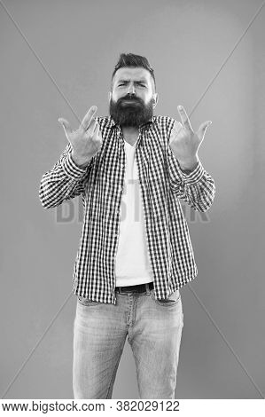 Listen To Me. Bearded Man Gesticulate Blue Background. Brutal Hipster In Casual Wear. Casual Style.