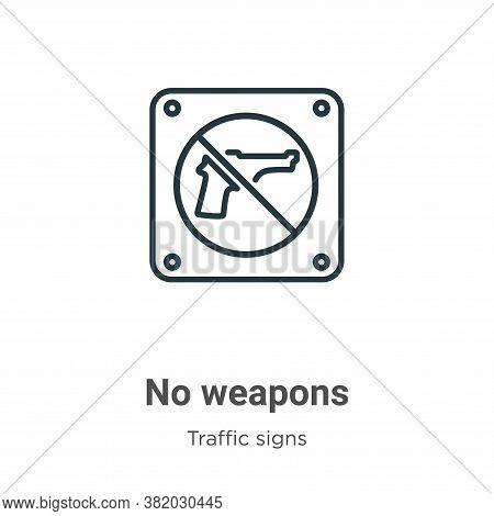 No weapons icon isolated on white background from traffic signs collection. No weapons icon trendy a