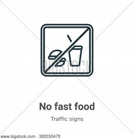 No fast food icon isolated on white background from traffic signs collection. No fast food icon tren
