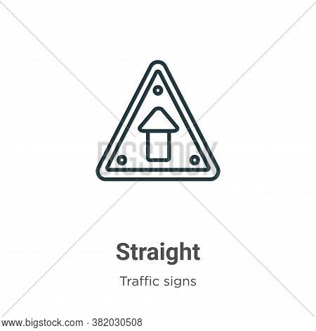 Straight icon isolated on white background from traffic signs collection. Straight icon trendy and m